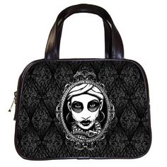 Marie Laveau Hand Bag with black damask on Etsy, $35.99