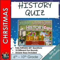 History Christmas Quiz 2019 - 60+ Questions in 10 varied topic question rounds.Every round is completely different and not just your boring Q and A style but instead each rounds test a different type of skill. (Guess the Present, The Emoji Round, Name the Landmarks, Christmas Crackers, Spot the Diff... Emoji Christmas, Christmas Quiz, Christmas Trivia, Christmas History, English Christmas, History Activities, English Activities, Famous Christmas Movies, Famous People In History