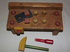 VINTAGE 1960S CHILDS WOOD WORK TOOL BENCH TOY..remember having one of these