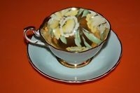 Large PARAGON English Bone China Tea Cup & Saucer Daffodil Flower Hairline Crack
