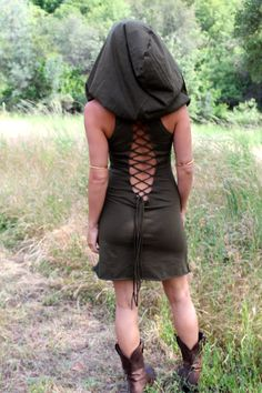 Hooded Mini Nienna Dress - Burning Man Festival - Elven Tunic - The Summer Festival Version