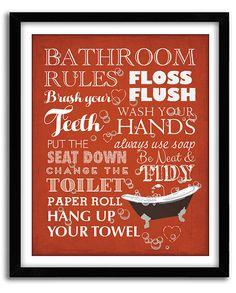 Funny Bathroom Wall Art, Bathroom Wall Decor, Bathroom Rules, Restroom Art,  Bathroom