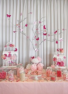 7 ideas for a candy table for baby shower - 7 ideas for a candy table for baby shower Deco Baby Shower, Baby Shower Table, Girl Shower, Baby Shower Themes, Shower Ideas, Butterfly Birthday Party, Butterfly Baby Shower, Pink Butterfly, Butterfly Tree