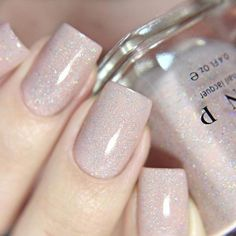 nails Birthday Suit - Cashmere Pink Holographic Nail Polish by ILNP French Nails, Gel Nails, Acrylic Nails, Toenails, Pink Holographic Nails, Dipped Nails, Bridal Nails, Powder Nails, Nail Polish Colors