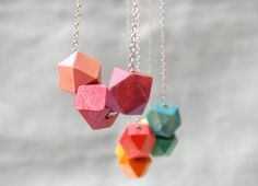 Pink Geometric - Ombre Jewelry- Ombre Necklace - Geometric Jewelry - Geometric Necklace - Wooden Geometric Beads - Geometric Beads on Etsy, $14.99