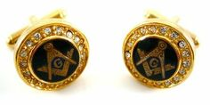 Gold Masonic Mason Cufflinks w/Swarovski Crystals CuffCrazy. $39.99. Free Gift Box Included. Swarovski Crystal Embelished. Stunning Round Gold Mason Cufflinks