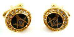 Gold Masonic Mason Cufflinks w/Swarovski Crystals CuffCrazy. $39.99. Swarovski Crystal Embelished. Stunning Round Gold Mason Cufflinks. Free Gift Box Included