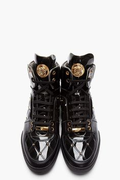 VERSACE Black Patent Leather Quilted High-Top Sneakers your sneakers babe  Christopher 7b7203e171