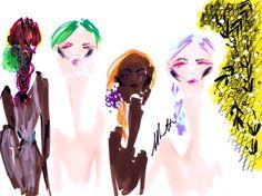 Jessica Repetto illustrates Oscar de la Renta at Fashion Week live