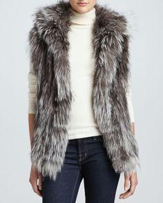Hooded Silver Fox Fur Vest by Adrienne Landau at Neiman Marcus.