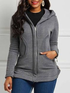 Zipper Slim Plain Hooded Womens Jacket We carry a wide array of the hottest styles of tops, bottoms, dresses, jewelry, and accessories. Coats For Women, Jackets For Women, Clothes For Women, Fall Jackets, Hooded Jacket, Hoodies, Sweatshirts, Womens Fashion, Fall Fashion