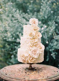 Beautiful rose appliqués and blush color #wedding #cake