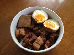 Braised pork belly and ramen eggs