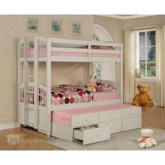 Powell May Pure White Pine Twin Over Twin Bunk Bed