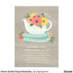 Flower Garden Teapot Bridal Shower Invitation