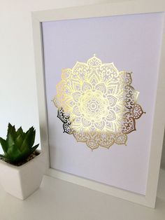 Gold foil print mandala print gold print wall art by InkiDesignAU Yoga Studio Design, Impression Feuille D'or, Buddha Wall Art, Mandala Print, Wall Mandala, Gold Foil Print, Foil Prints, Meditation Space, Buddhist Art