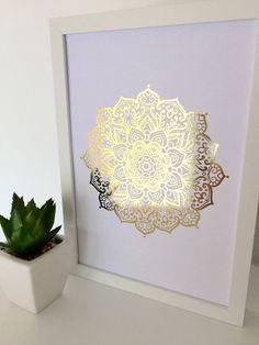 Gold foil print mandala print gold print wall art by InkiDesignAU