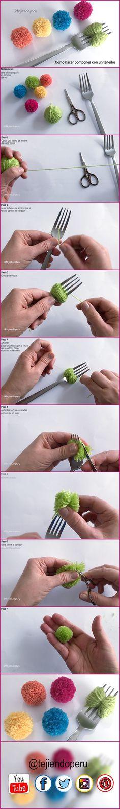 Cómo hacer un pompón con un tenedor: video del paso a paso