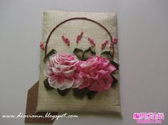 Roses on a cushion ribbon embroidery