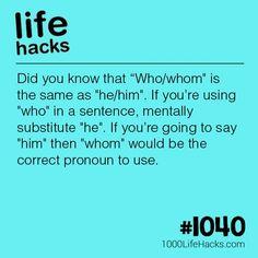Who/Whom usage guide Grammar Tips, Grammar Lessons, Simple Life Hacks, Useful Life Hacks, Writing Words, Writing Tips, Teaching Tools, Teaching Kids, 1000 Life Hacks