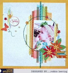 A Little Yellow Bicycle Simply Spring layout by Robbie Herring using washi tape as focal point.