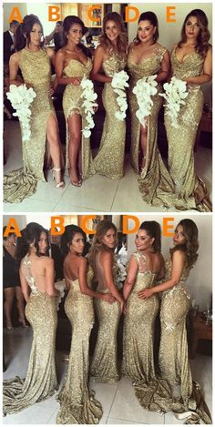 2018 Charming Sexy Unique Mismatched Gold Seuin Side Split Sparkly Women Long Wedding Party Dresses for Bridesmaids The long bridesmaid dresses are fully lined 4 bones in the bodice chest pad in the bust lace up back or zipper back are all availa Mermaid Bridesmaid Dresses, Gold Bridesmaids, Mismatched Bridesmaid Dresses, Mermaid Dresses, Gold Sparkle Bridesmaid Dress, Taupe Bridesmaid, Bohemian Bridesmaid, Bridesmaid Outfit, Bridesmaid Ideas