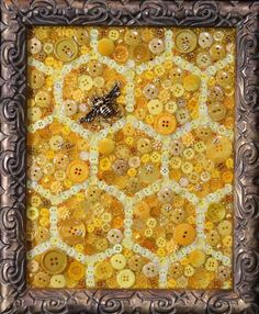 Honeycomb button art bee mixed media art honeycomb decor honeycomb gift honey bee queen bee be Bee Crafts, Arts And Crafts, July Crafts, Holiday Crafts, Bee Creative, Bee Art, Save The Bees, Bees Knees, Button Crafts