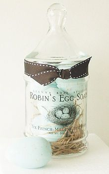 I so want to make these for gifts ~ beautiful luxury hand made soaps in apothecary jars. They come in three designs: Sea shells (fragranced with white honeysuckle and baby jasmine), power blue robins eggs (chamomile and meadowsweet w/oatmeal and wheat bran for exfoliating speckles), and pink rose petals.