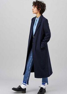 langer Mantel Gianna navy, Wollmantel lang