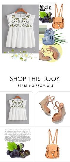 """""""Flower Embroidered Buttoned Keyhole Ruffle Babydoll Top"""" by anchesky23 on Polyvore featuring Schutz and Chloé"""
