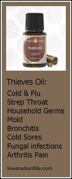 A few of the uses for Thieves Oil! $47.07 http://livearadiantlife.com/essential-oils/purchase-oils/single-oils #essential oils