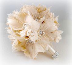 Wedding Bouquet, Bridal Bouquet, Feather Bouquet, Brooch Bouquet, Ivory, Champagne, Silver.