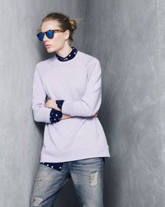 SEP '14 Style Guide: J.Crew women's featherweight merino double-knit tunic and classic silk top in ticktock print.