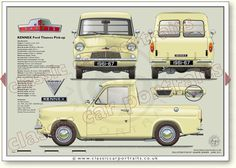 Ford (Anglia) Thames Pick-up by KENNEX classic car portrait print Ford Anglia, Ford Classic Cars, S Car, Car Drawings, Model Car, Old Cars, Hot Wheels, Vintage Cars, Tractors