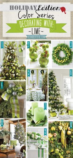 Holiday Color Series; Decorating with Lime. Lime, green, citrus holiday home decor | A Shade Of Teal