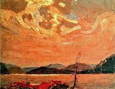 Tom Thomson (@TTLastSpring) | Twitter Canadian Painters, Canadian Artists, Beautiful Landscape Paintings, Landscape Art, Group Of Seven Artists, Tom Thomson Paintings, Emily Carr, Sunrise Painting, Modern Impressionism