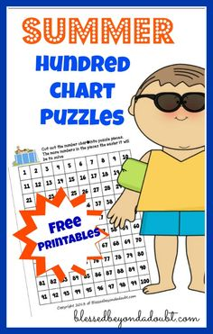 FREE Hundred Chart Puzzle Printables!  Make summer learning FUN!