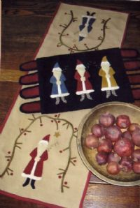 Christmas Past  Wool Penny Rug and Table Runner