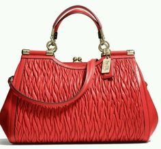 Coach Gold Kisslock Leather Red Love Red Bag - Satchel $501