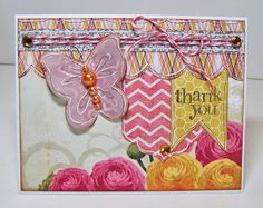 Thank You card by Gail Owens for @kiwilane using Kiwi Lane Designs templates and paper by My Mind's Eye