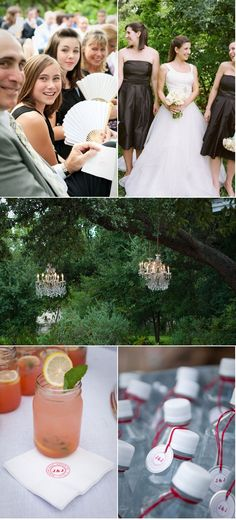 Chandeliers in the trees and cocktails in mason jars