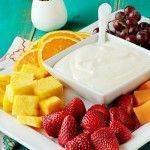 Dreamsicle fruit dip- AMAZING FLAVOR! I would add more greek yogurt next time to make it less stiff!