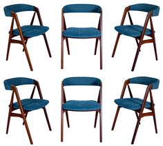 View this item and discover similar for sale at - Set of 6 Danish Dining Chairs. Store formerly known as ARTFUL DODGER INC Round Back Dining Chairs, Teak Dining Chairs, Dining Chair Set, Scandinavian Modern, Danish Modern, Danish Furniture, Home Furniture, Dark Blue Living Room, Modern Materials