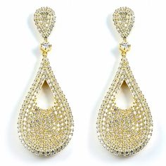 Tear Drop Micro-Pave Cubic Zirconia Earrings Made In Sterling Silver With Yellow Gold Plating