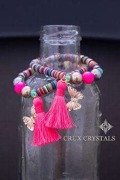 Colorful African Vinyl Boho Tassel Bracelet by CruxCrystals