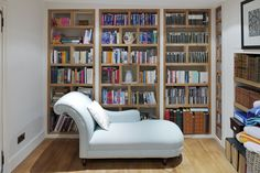 An Inglis Hall bespoke bookshelf made to make sure that there is a space for every book and to fit exactly into the available space.