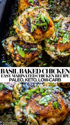 Basil Baked Chicken - paleo, keto, low-carb, delicious and easy healthy chicken recipe - use chicken thighs, dumsticks or chicken breasts! Easy dinner recipe! #chicken #lowcarb #dinner #recipe #chickenrecipe Chicken Recipes Dairy Free, Crispy Chicken Recipes, Crispy Baked Chicken, Paleo Recipes, Whole Food Recipes, Recipe Chicken, Keto Chicken, Meal Recipes, Free Recipes