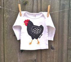 Dotty Chicken Long Sleeve Baby Tee by silkoak on Etsy, $18.00