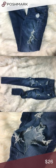 """Distressed Express Jeans Size 4 Distressed denim jeans from Express. I absolutely love Express Jeans. They always fit so good on me. These have lots of stretch and are very distressed with holes & rips. Your legs will be showing in these. They are size 4. I wore them maybe 5 times. Inseam is 28"""" Express Jeans"""