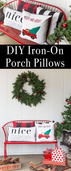 Pillows with Custom Iron-On Designs Create these festive and beautiful DIY Christmas pillows with custom iron-on designs.Create these festive and beautiful DIY Christmas pillows with custom iron-on designs. Diy Christmas Decorations For Home, Diy Christmas Gifts, Christmas Projects, All Things Christmas, Christmas Home, Diy Home Decor, Holiday Decor, Diy Christmas Pillows, Christmas Ideas